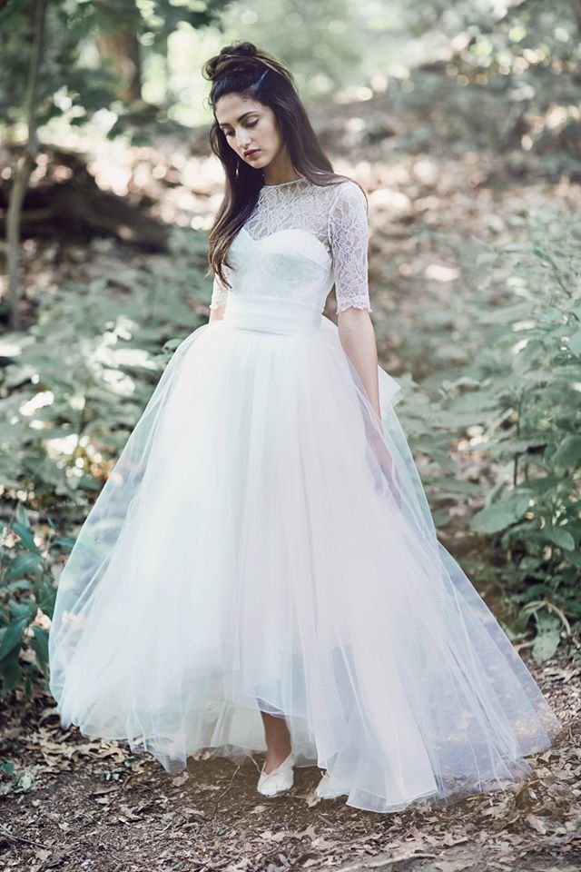 Berthe lace short sleeve bodice over hi-low tulle Adele skirt